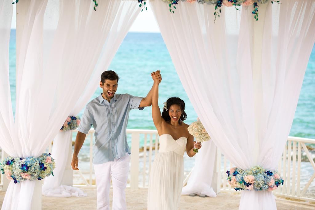 Hyatt-Ziva-Rose-Hall-Gazebo-Wedding-Groom-And-Bride-Just-Married